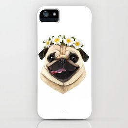 Pug with flowers iPhone Case