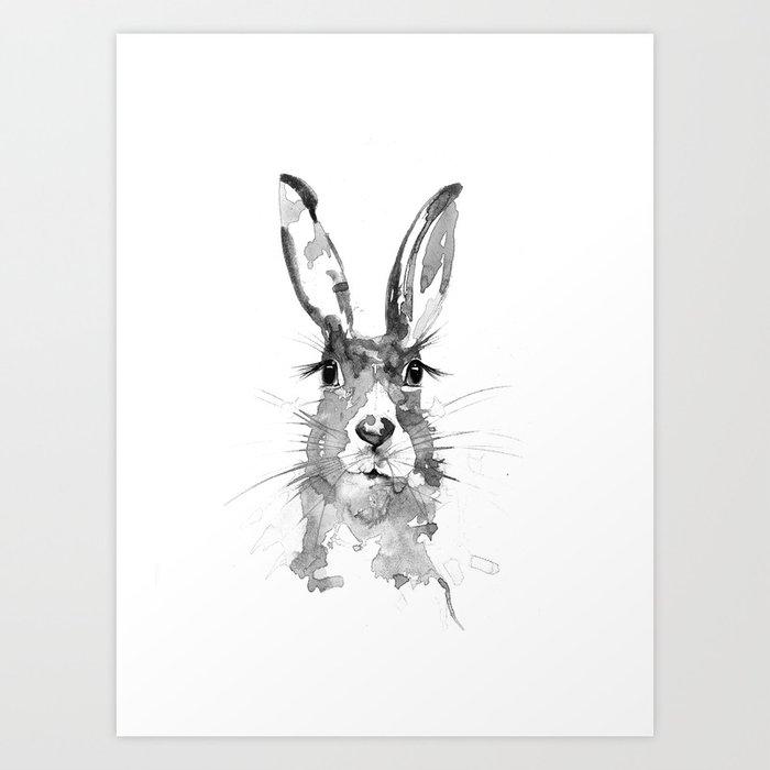 Black n white hare art print