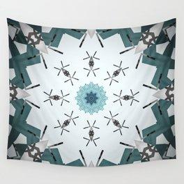 Decorative Silver and Sea Foam Mandala Wall Tapestry