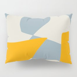 Organic abstract shapes in blue and yellow Pillow Sham