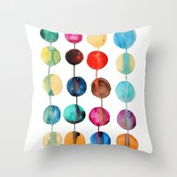 planets Throw Pillows featuring Planets by Mille Dørge
