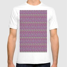 Multicolor Aztec pattern Mens Fitted Tee MEDIUM White