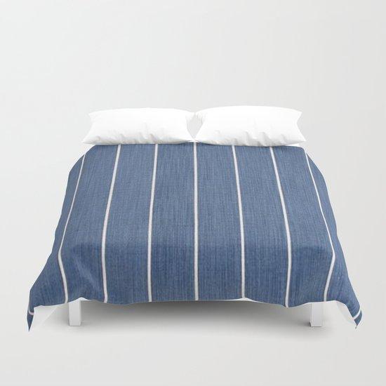 Denim Blue with White Pinstripes Duvet Cover