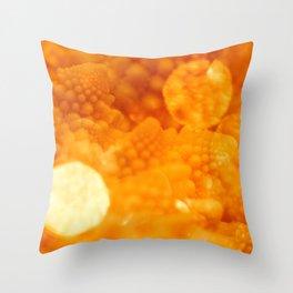 Macro Romanesco Broccoli - Bokeh Gold Throw Pillow