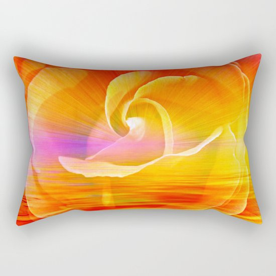 Sunset Rose Abstract Rectangular Pillow
