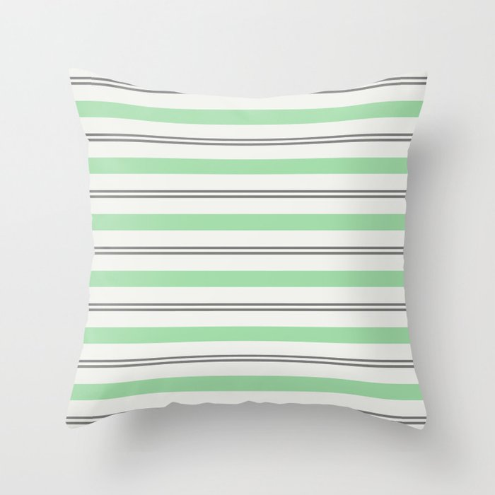 Pastel Green, Gray & Linen White Horizontal Stripes Pairs to 2020 Color of the Year Neo Mint Throw Pillow