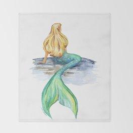Mermaid Watercolor Throw Blanket