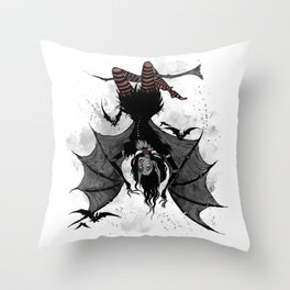 Inktober Bats Throw Pillow