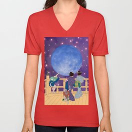 Hokusai People Seeing the Moon in Universe Unisex V-Neck