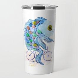 fish on a bicycle Travel Mug