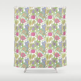 Seven Species Botanical Fruit and Grain with Pastel Colors Shower Curtain