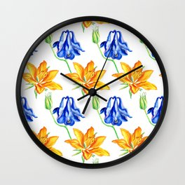 Columbine and Lily Hand Painted Floral Pattern Wall Clock