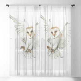 Barn Owl Flying Watercolor   Wildlife Animals Sheer Curtain
