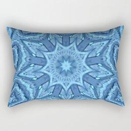 Blue Flower Nebula Star Mandala Rectangular Pillow