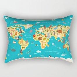 Animals world map. Vector illustration Rectangular Pillow