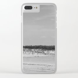 Assateague Island panoramic (black and white) Clear iPhone Case
