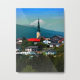 A village in autumn season Metal Print