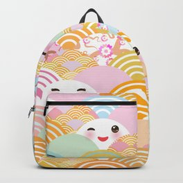 seamless pattern Kawaii with pink cheeks and winking eyes with japanese sakura flower Backpack