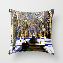 Bryant Park before Christmas Throw Pillow