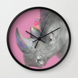 Rhino & Little Bird, African Wild, Animals Fienship Wall Clock