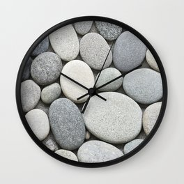 Grey Beige Smooth Pebble Collection Wall Clock