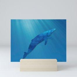 Blue Whale, Minimalist, Sea Life, Coastal Art  Mini Art Print