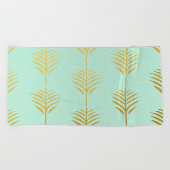 Golden Palm Leaves on Mint Beach Towel