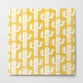 Mid Century Modern Desert Cactus Pattern 835 Yellow Metal Print