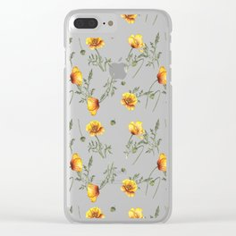 Yellow Poppy Pattern Clear iPhone Case