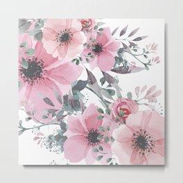 Floral Watercolor, Pink and Gray, Watercolor Print Metal Print
