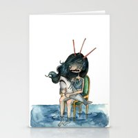 anxiety Stationery Cards featuring anxiety by leteresa