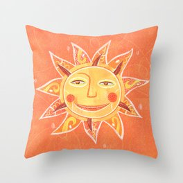 Orange Smiling Sun Face Throw Pillow