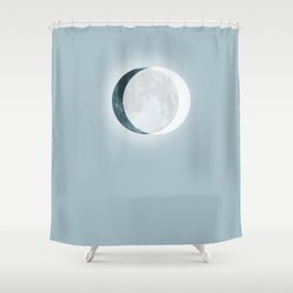 White Eclipse Blue Moon Shower Curtain