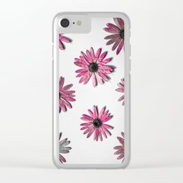 Crazy Pink Flower Print Clear iPhone Case