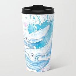 Blue Whales Splash Watercolor Travel Mug