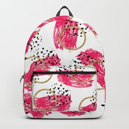 Abstract Black Pink and Faux Gold Brushstrokes Backpack
