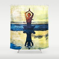 yoga Shower Curtains featuring yoga by Chantale Roger