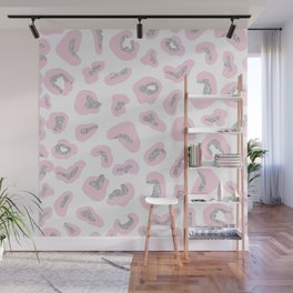 Hipster girly pink white silver glitter leopard print Wall Mural