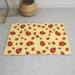 """""""I LOVE RED LADY BUGS"""" ON CREAM COLOR Rug"""