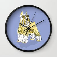 schnauzer Wall Clocks featuring Schnauzer lavender by biene2001