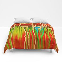 Distant Trees in Orange and Lime Comforters