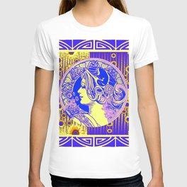 MODERN  ART NOUVEAU PURPLE-YELLOW SUNFLOWERS ABSTRACT T-shirt