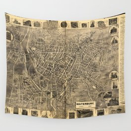 Aerial View of Waterbury, Connecticut (1899) Wall Tapestry