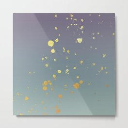 Dusty Pastel Gold Flakes Ombre Abstract Art Metal Print