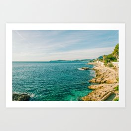 Seacoast of Cap d'Ail in a sunny winter day Art Print