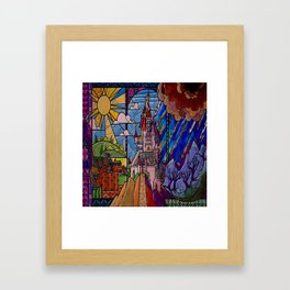 ROMANCE BEAUTY AND THE BEAST Castle Stained Glass Framed Art Print