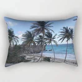 Barbados Palm Tree Beach Rectangular Pillow
