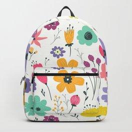 Colorful orange purple modern abstract floral illustration Backpack