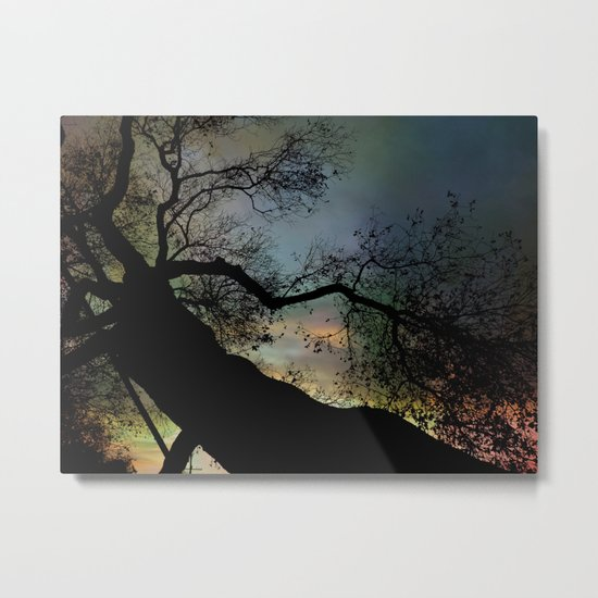 Night Fall by The Tree Metal Print