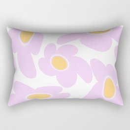 Pink Retro Flowers on White Background #decor #society6 #buyart Rectangular Pillow